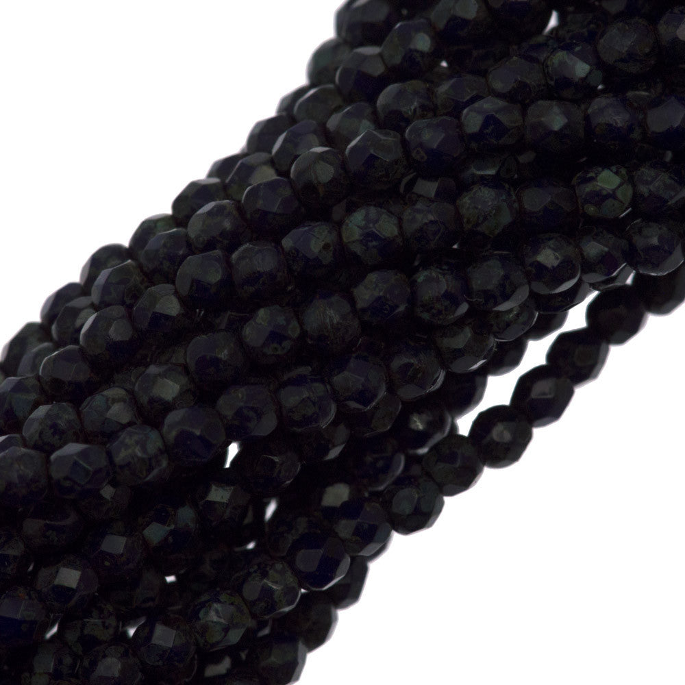 100 Czech Fire Polished 2mm Round Bead Navy Blue Picasso (33070T)