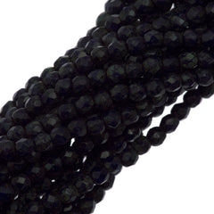 Czech Fire Polished 2mm Round Bead Navy Blue Picasso