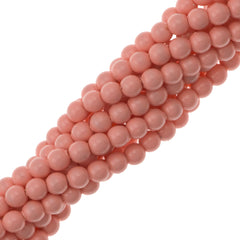 100 Swarovski 5810 4mm Round Pink Coral Pearl Beads