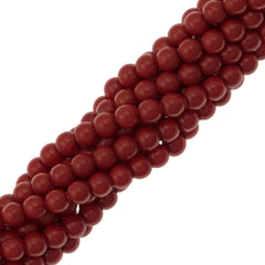 100 Swarovski 5810 4mm Round Red Coral Pearl Beads