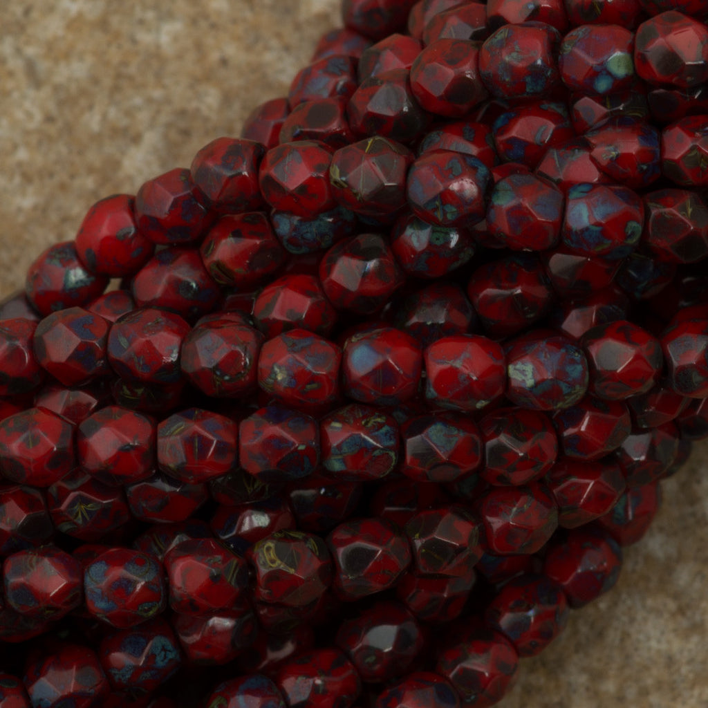 100 Czech Fire Polished 3mm Round Bead Opaque Red Picasso (93200T)