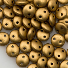 50 CzechMates 6mm Two Hole Lentil Matte Metallic Flax Beads (01710K)