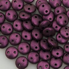 50 CzechMates 6mm Two Hole Lentil Metallic Suede Pink Beads (79086)