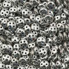 CzechMates 6mm Four Hole QuadraLentil Silver Beads 2.5-inch Tube (27000)