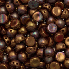 CzechMates 7mm Cabochon Two Hole Beads Opaque Dark Bronze Luster Iris 6.7g Tube (14415R)