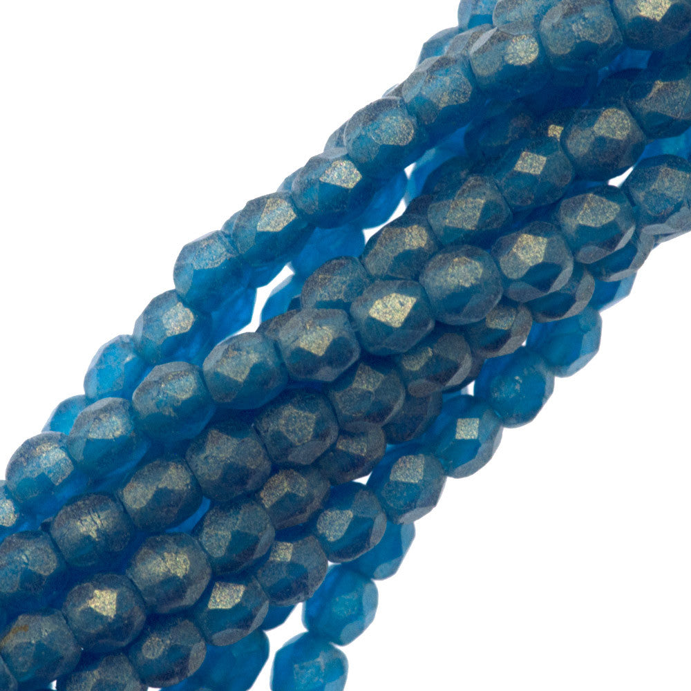 100 Czech Fire Polished 2mm Round Bead Gold Suede Capri Blue (60080MSG)
