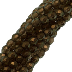 100 Czech Fire Polished 3mm Round Bead Halo Linen (29270)