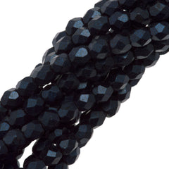 100 Czech Fire Polished 3mm Round Bead Metallic Suede Dark Blue (79032)