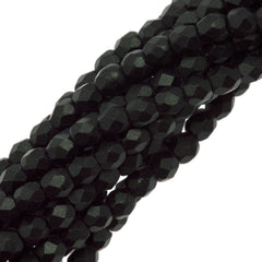 100 Czech Fire Polished 3mm Round Bead Metallic Suede Dark Forest (79052)