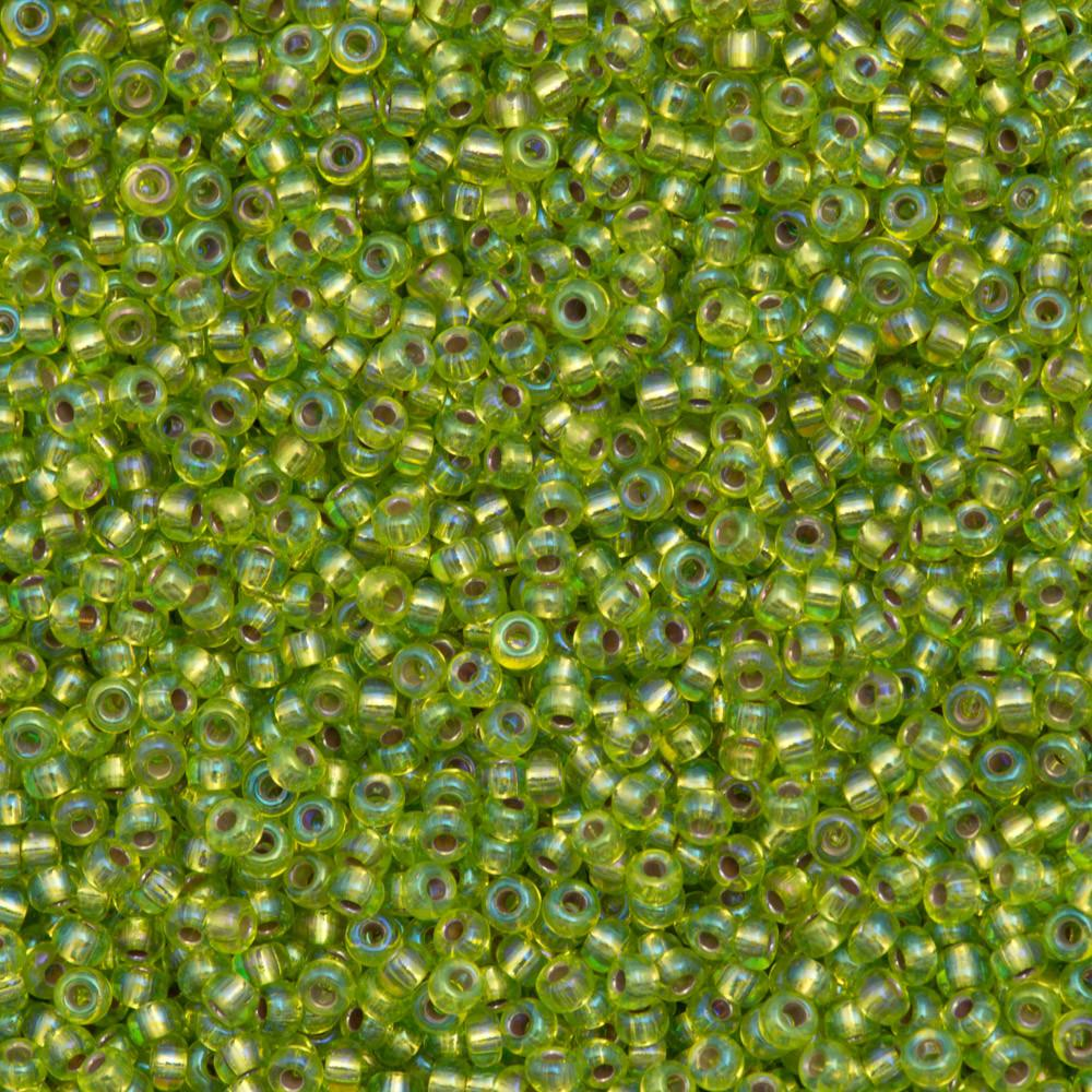 50g Miyuki Round Seed Bead 11/0 Silver Lined Chartreuse AB (1014)