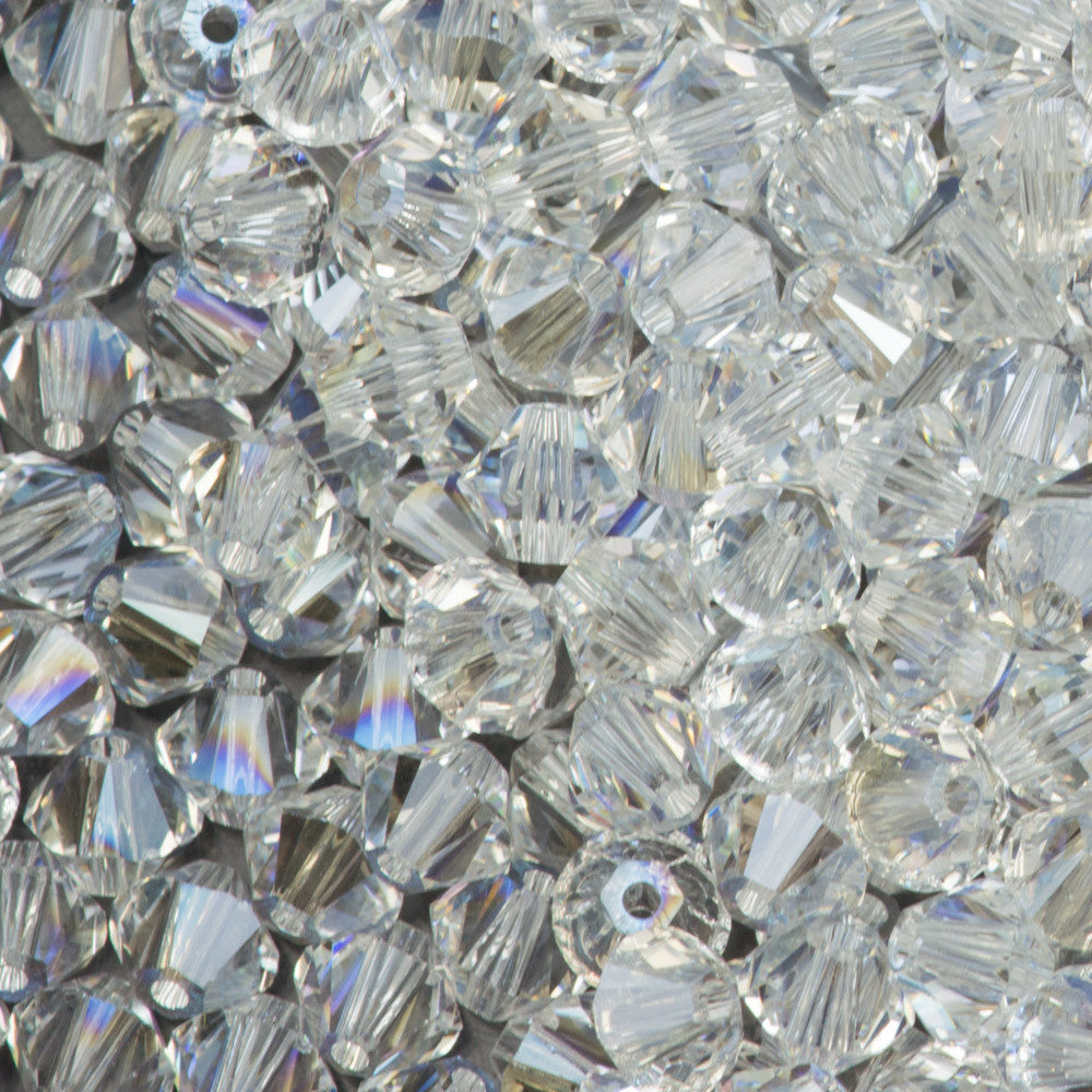 144 Swarovski 5328 Xilion 4mm Bicone Bead Crystal Moonlight (001 MOL)