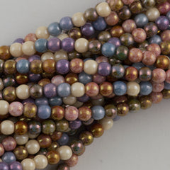 100 Czech 6mm Pressed Glass Round Beads Opaque Luster Mix Color (10000P)