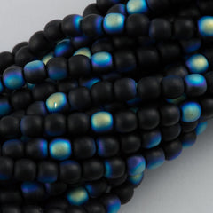 100 Czech 6mm Pressed Glass Round Beads Matte Jet AB (23980MX)