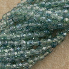 100 Czech Fire Polished 3mm Round Bead Blue Green Dual Lustered (91007)