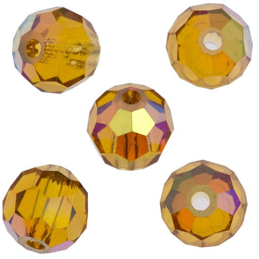 24 Preciosa Czech Crystal 6mm MC Round Bead Topaz AB 10070AB