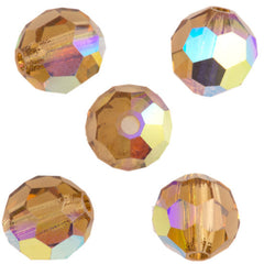 24 Preciosa Czech Crystal 6mm MC Round Bead Light Colorado Topaz AB 10330AB
