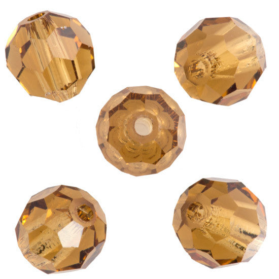 24 Preciosa Czech Crystal 6mm MC Round Bead Light Colorado Topaz 10330