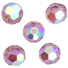 24 Preciosa Czech Crystal 4mm MC Round Bead Light Amethyst AB 20020AB