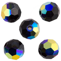 24 Preciosa Czech Crystal 6mm MC Round Bead Jet AB 23980AB