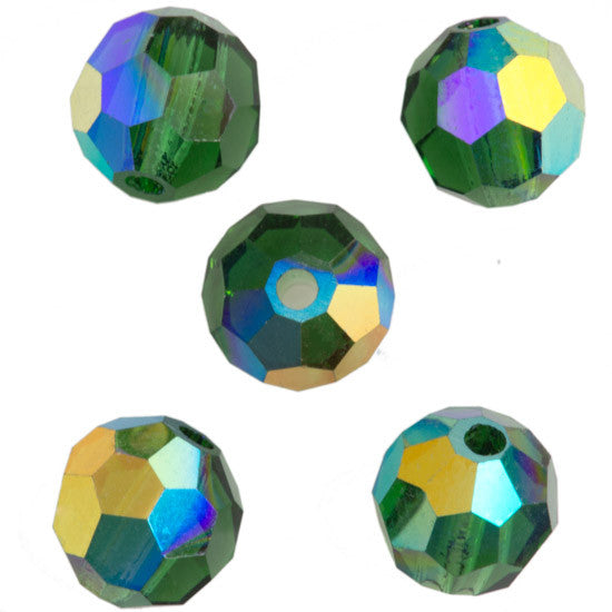 24 Preciosa Czech Crystal 4mm MC Round Bead Green Turmaline AB (50020AB)
