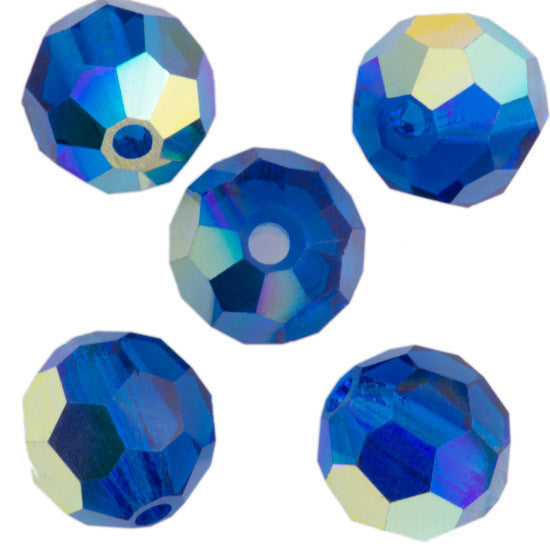 24 Preciosa Czech Crystal 4mm MC Round Bead Capri Blue AB 60310AB