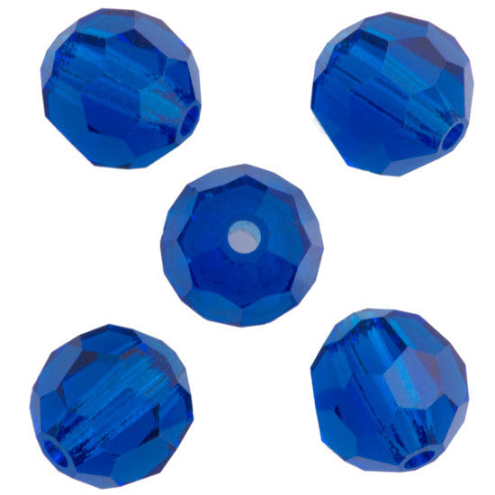 24 Preciosa Czech Crystal 4mm MC Round Bead Capri Blue 60310