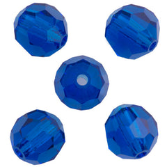 24 Preciosa Czech Crystal 6mm MC Round Bead Capri Blue 60310