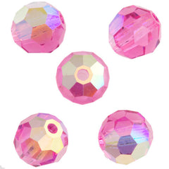 24 Preciosa Czech Crystal 6mm MC Round Bead Rose AB 70010AB