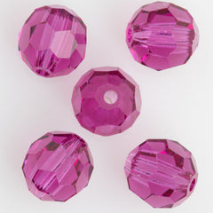 24 Preciosa Czech Crystal 6mm MC Round Bead Fuchsia 70350