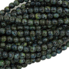 200 Czech 4mm Pressed Glass Round Beads Jet Picasso (23980T)