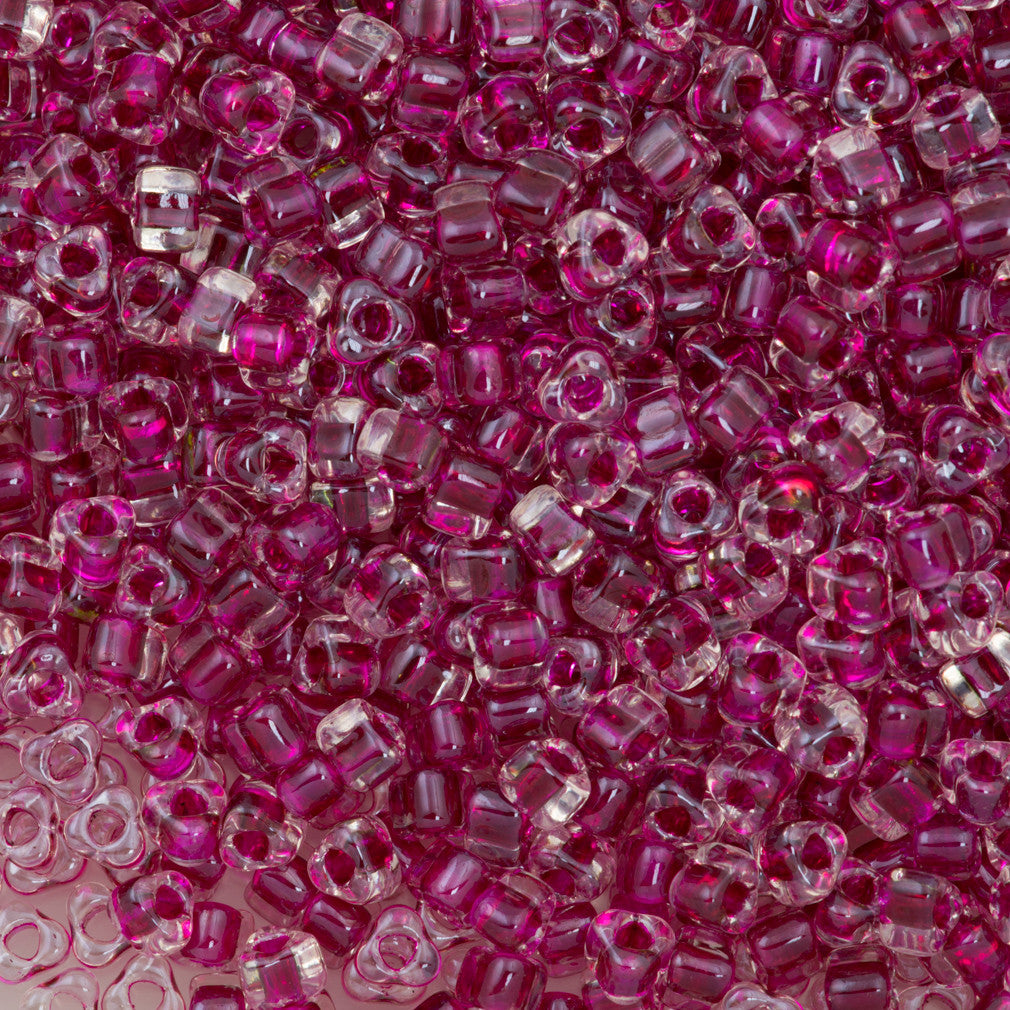 Miyuki Triangle Seed Bead 5/0 Crystal Inside Color Lined Raspberry 21g Tube (1140)