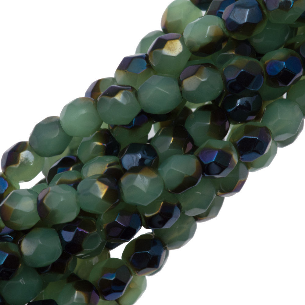 100 Czech Fire Polished 4mm Round Bead Blue Iris Milky Dark Peridot (52010BR)