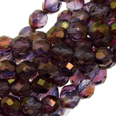 50 Czech Fire Polished 8mm Round Bead Amethyst Crystal Luster (91011)