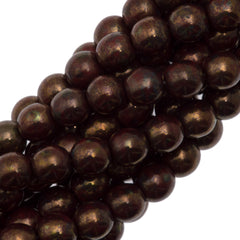 100 Czech 6mm Pressed Glass Round Opaque Dark Red Bronze Picasso Beads (15696P)