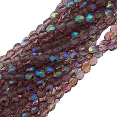 100 Czech Fire Polished 3mm Round Bead Amethyst AB (20060X)