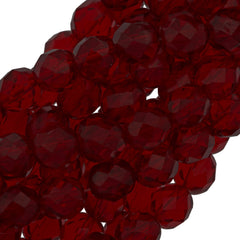 50 Czech Fire Polished 8mm Round Bead Ruby (90100)