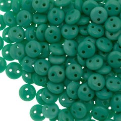 50 CzechMates 6mm Two Hole Lentil Opaque Turquoise Beads (63130)