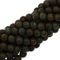 100 Czech 6mm Pressed Glass Round Goldenrod Picasso Beads (13740T)