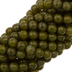 100 Czech 6mm Pressed Glass Round Yellow Coral Moon Dust Beads (84040MD)