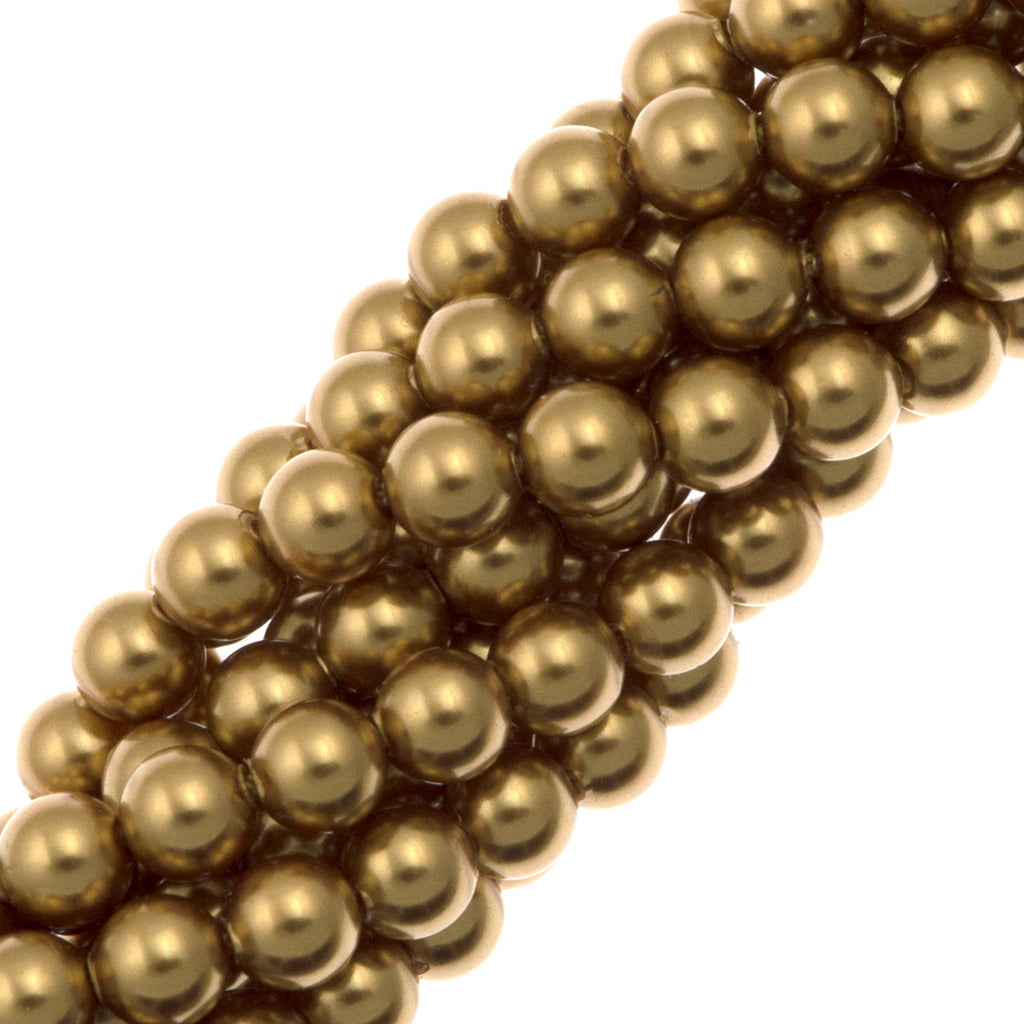 100 Swarovski 5810 4mm Round Bright Gold Pearl Beads