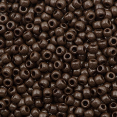 Toho Round Seed Beads 6/0 Opaque Brown 5.5-inch tube (46)