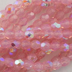 100 Czech Fire Polished 2mm Round Bead Milky Pink AB (71010X)