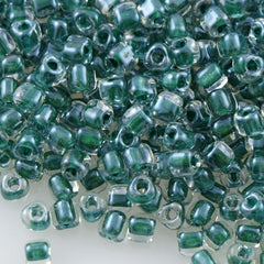 Miyuki Triangle Seed Bead 5/0 Inside Color Lined Hunter Green 15g TR5-1117