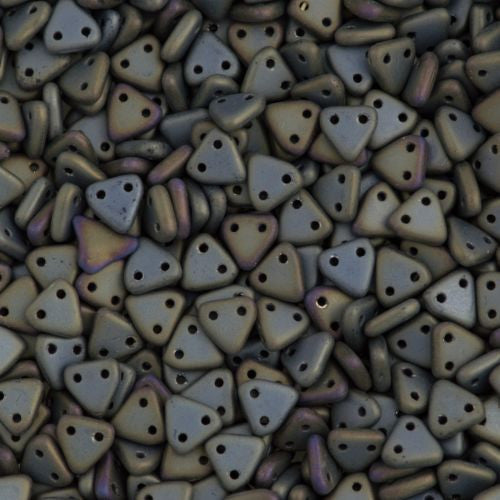 15g CzechMates 6mm Two Hole Triangle Beads Matte Brown Iris (21115)