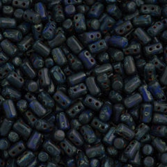 Czech Rulla 3x5mm Two Hole Beads Blue Dark Travertin 15g (33050TD)