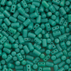 Czech Rulla 3x5mm Two Hole Beads Opaque Green Turquoise 15g (63130)