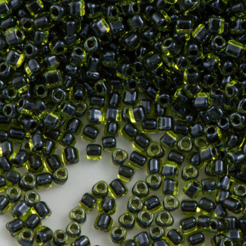 Miyuki Triangle Seed Bead 5/0 Peridot Inside Color Lined Black 15g (1816)