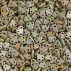 15g CzechMates 6mm Two Hole Triangle Beads Opaque Ultra Green Luster (65455P)