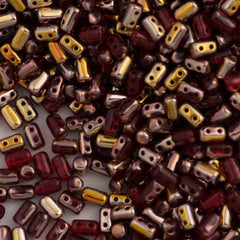 Czech Rulla 3x5mm Two Hole Beads Siam Ruby Capri Gold 15g (90080CG)