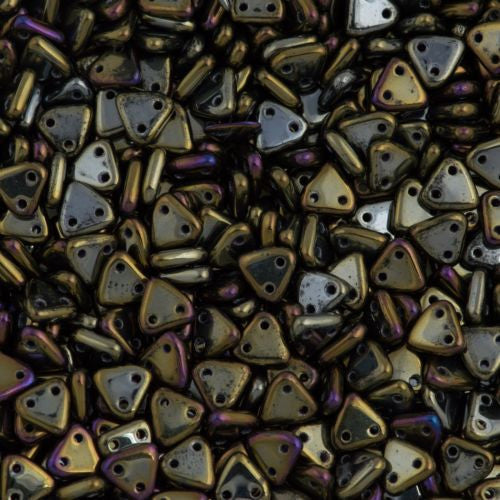 15g CzechMates 6mm Two Hole Triangle Beads Brown Iris 21415